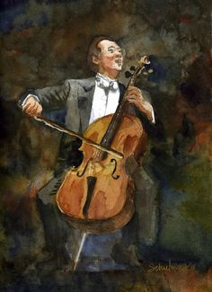 The Joy of Cello, Yo Yo Ma Portrait Watercolor Art Prints by Miriam Schulman - Shop Canvas and Framed Wall Art Prints at Imagekind.com