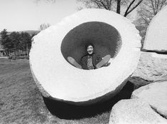 """Isamu Noguchi inside the """"peach pit"""" of his sculpture, Momo Taro, during the Storm King Art Center Anniversary Luncheon, April 1985 — Are. Abstract Sculpture, Sculpture Art, Storm King Art Center, Isamu Noguchi, Peach Pit, Fountain Design, My Favorite Image, Art Club, American Artists"""
