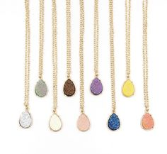 Bohemian Gold Frame Druzy Drusy Teardrop Long Necklace | Drop Pendant Chocolate, Pink Coral, or Creme by CuteDaintyJewelry on Etsy https://www.etsy.com/listing/464578321/bohemian-gold-frame-druzy-drusy-teardrop