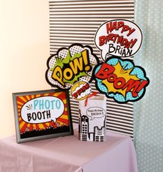 DIY Photo Booth Ideas meets SUPERHEROS: love these comic book and pop art inspired signs to hold up. POW! BAM! BOOM! ZAP! Awesome.