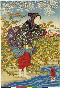 Yamashiro no kuni ide no Tamagawa. Triptych:'The River Ide (Tamagawa), one of the Jewel rivers, in Yamashiro Province; three women at the river, two in the water; one beckons while one is being assisted by the one on shore, the trees are in full blossom'. (Left Side)