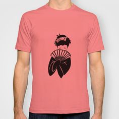 Geisha 2  (Japanese geisha with fan) T-shirt by Janin Wise - $18.00.   Love the plain white T in this, but it would only pin the pink.