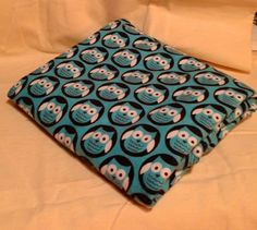 Blue Owl Baby Boy receiving Blanket Swaddling Blanket Over sized | bitspeaces - Children's on ArtFire