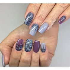 Grey nails with glitter ombré