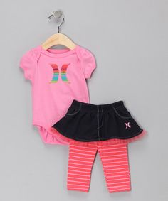 Take a look at this Peony Pink Stripe Bodysuit & Skirted Leggings by Hurley on #zulily today!