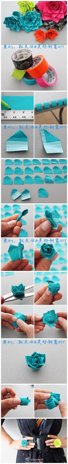 DIY Duct Tape Flower You don't have to do the last step(: