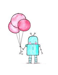 Ciao bambini Robotstampa archivio Potrait di ohhellodear su Etsy