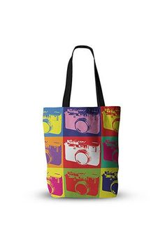 PFTTEBG009 Camera Montage Tote Bag   #photobackdrop #photography #christmasbackdrop Photographer Gifts, Thing 1, Poplin Fabric, Diaper Bag, Reusable Tote Bags, Diaper Bags, Mothers Bag