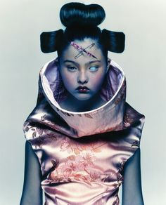 Nick Knight's iconic image of Japanese/American model Devon Aoki in Alexander McQueen, 1997.