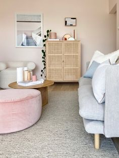 Don't be afraid to play with colour on the walls One of the best ways to make a statement in a smaller home is by painting the walls in soft colour. The blush walls are the definitely the hero in this living and dining area, and are the first thing you notice when walking in. For anyone wondering, Lauren has used Blossom Time Quarter by @duluxaustralia #dulux #apartment #living