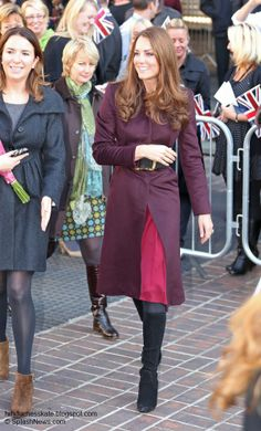 Kate visited Newcastle Civic Center this morning and wore her lovely coat (from an independent dressmaker) that she wore last Christmas.