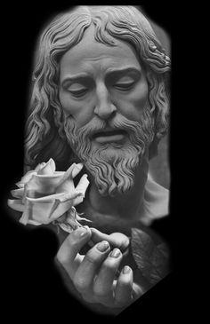 Studio Makaivio Tattoo Christ Tattoo, Jesus Tattoo, Tattoo Studio, Angel Sculpture, Sculpture Art, Catholic Art, Religious Art, Tattoo Jesus Cristo, Body Art Tattoos
