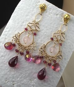 Pink Topaz Tourmaline Gold Earrings Chandelier Handmade Wire Wrapped