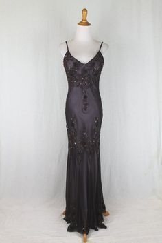 ADRIANNA PAPELL Long Beaded Silk 1920's 30's Inspired Bias Cut Mermaid Gown 8 #AdriannaPapell #falseGown #Formal