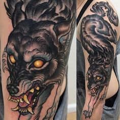One shot one killed this wolf last night  @noidolsnyc  #freehand #freehandtattoo…