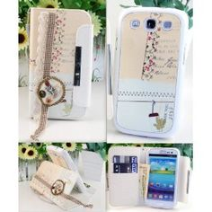 Cute! 2 in 1 Romantic Handcrafted Stand Wallet Case with Stylus Pen and a bonus cell phone string for Samsung Galaxy S3 i9300