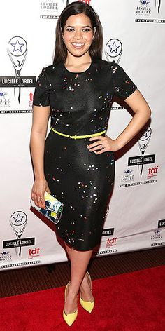 I like the subtle pops of color on this black dress
