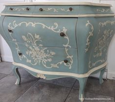 This small French style dresser was beautifully finished in Duck Egg Blue Chalk Paint® decorative paint by Annie Sloan   By Finding Silver Pennies - Via Distinctive Chesterfields