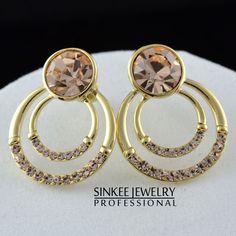 SINKEE frete grátis amarelo banhado a ouro hoop brincos de cristal marca de jóias presente mulheres menina ES046 em Brinco de brilhante de J...