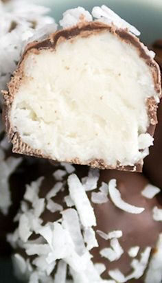 Coconut Cream Truffles: 1/4 cup butter, softened 1/2 teaspoon vanilla extract 1/2 teaspoon coconut extract 2 tablespoons cream of coconut (I used Coco Real Brand) Pinch salt 1 1/2 cups powdered sugar 1 cup shredded coconut 6-8 ounces chocolate candy melts or semi-sweet baking chocolate