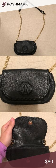 Tory Burch gold chain strap purse 100% authentic Tory Burch black purse with gold strap. In excellent condition, no flaws. Perfect for a night out - holds small wallet, cell and lip gloss. Tory Burch Bags Mini Bags