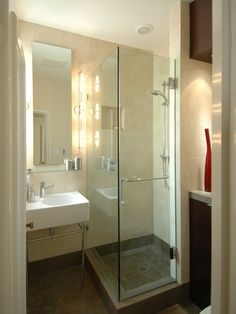 Shower Design for Small Bathroom. 20 Shower Design for Small Bathroom. Modern Bathroom Design Ideas with Walk In Shower Small Basement Bathroom, Small Bathroom With Shower, Small Showers, Tiny Bathrooms, Bathroom Design Small, Bathroom Layout, Bathroom Interior, Modern Bathroom, Bathroom Ideas