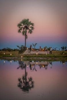 Sundowner drinks beside the Okavango Delta at Chitabe camp, Botswana Okavango Delta, Wilderness, Safari, Camping, River, Sunset, Drinks, Outdoor, Inspiration