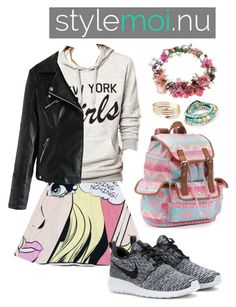"""New York Girls- Sweatshirt by STYLEMOI"" by wheniwasdreamingg ❤ liked on Polyvore featuring Topshop, NIKE and Candie's"