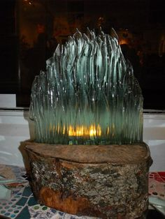 Fused glass candle screen at fannie and fox Penryn