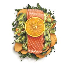 Orange-Ginger Salmon Packets with Broccoli, Sweet Potatoes and Kale | Cake Over Steak