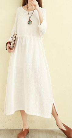 b59d09c1005bf DIY v neck tie waist cotton linen clothes For Women Vintage Fashion Ideas  white Traveling Dress