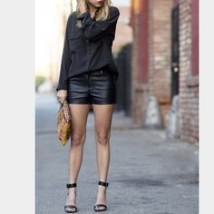 ⚡️Flash sale⚡️Black faux leather shorts For some reason the 2nd and 3rd pic make them look shinier than they really are in person. Wore once- great condition. Size small. Forever 21 Shorts
