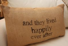 "Fairy God-Mother's Day:  ""And They Lived Happily Ever After"" Burlap Throw Pillow by Tooty B at Etsy"