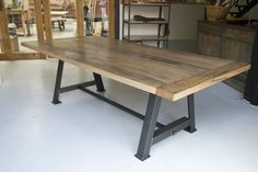 Tasmanian Oak Dining Table with Fabricated Steel Base