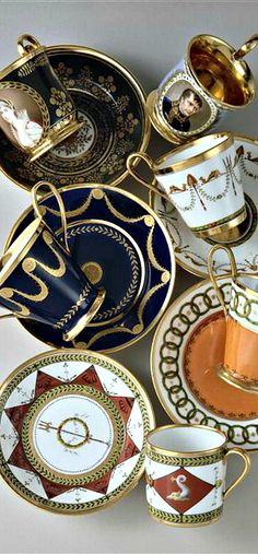 4:00 Tea... Sevres - an assortment of elegant teacups and saucers