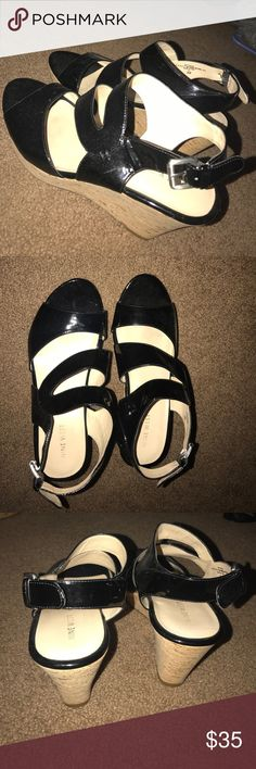 Nine west wedges nine west black wedges in great condition Nine West Shoes Wedges