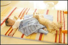 Kitten nap, baby with cat picture