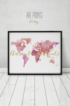Adventure awaits, Travel map, World map watercolor print, large world map, faux gold,map painting, Home Decor fine art prints ArtPrintsVicky