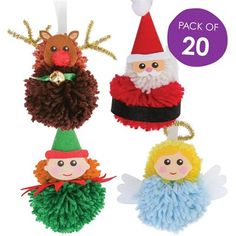 Products Products,Pompons Arts and Crafts Supplies Christmas Pom Pom Crafts, Diy Christmas Ornaments, Kids Christmas, Christmas Crafts, Christmas Decorations, Homemade Crafts, Diy And Crafts, Candy Cane Sleigh, How To Make A Pom Pom