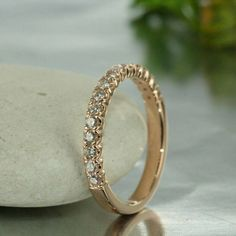 Rose Gold Over Ct Diamond Half Eternity Wedding Band Anniversary Ring Ideal Cut Diamond, Round Cut Diamond, Diamond Wedding Bands, Wedding Rings, Anniversary Bands, Wedding Anniversary, Man Made Diamonds, Engraved Rings, Conflict Free Diamonds