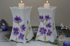 Świeczniki ręcznie malowane 2szt. candlesticks handmade painted ceramic