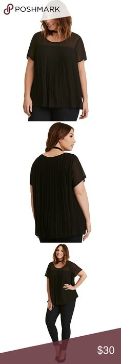 """Torrid Black Accordion Pleated Chiffon Blouse NWT This blouse certainly lives up to its """"accordion"""" name; the pleats just keep coming! The whisper-light black chiffon is already swingy enough as is, but the exaggerated accordion pleats take it to the next level. Pullover scoop neck only adds to the fluttery feels.  Brand new with tags! *This is actually a torrid size 2 but it fits more like a torrid size 3 so I've listed it as such.* torrid Tops"""