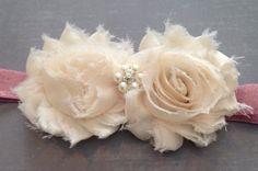 Roses & Cream Shabby Flower Baby Headband by HeadbandsByHabegger, $4.50