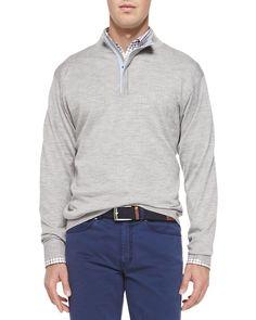 Silk/Cashmere 1/4-Zip Pullover Sweater, Light Gray, Light Grey - Peter Millar