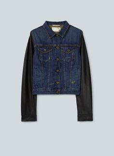 Rag & Bone/Jean Jean Jacket with #leather sleeves, available in-store at Aritzia.