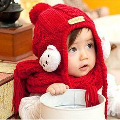 8d082bffa61 Lovely Cartoon Bear Hats Scarf Set Kids Beanie Caps Shawl Baby Hats Knitting