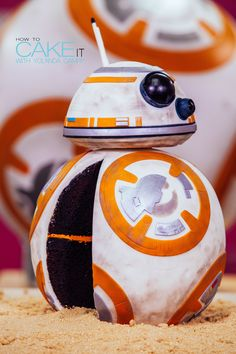 May the CAKE be with you! This little BB-8 droid cake was the perfect way to celebrate the new Star Wars: The Force Awakens movie. You won't find any gears inside this robot - it's all chocolate cake and italian meringue buttercream. #Baking #Dessert #CakeDecorating