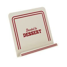 "Cake Boss Countertop Accessories - Metal Cookbook Stand, ""Devoted to Dessert"" - White #59372 - PotsandPans.com"