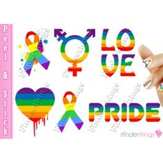 Show your support with this colorful gay pride and LGBT ribbon mix nail art decal sticker set; these vivid designs are sure to turn heads and look great!
