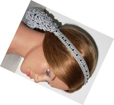 Silver Satin Hair Snood with black glass beads by Ablast2thepast, $42.00